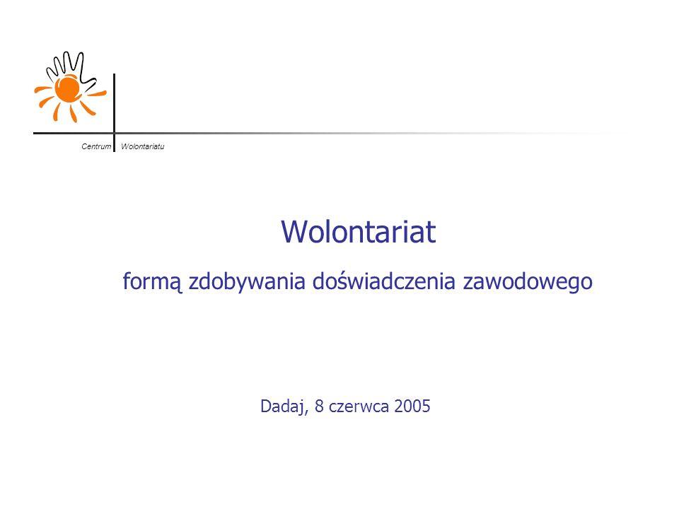 Centrum Wolontariatu Wolontariat formą zdobywania doświadczenia zawodowego Dadaj, 8 czerwca 2005