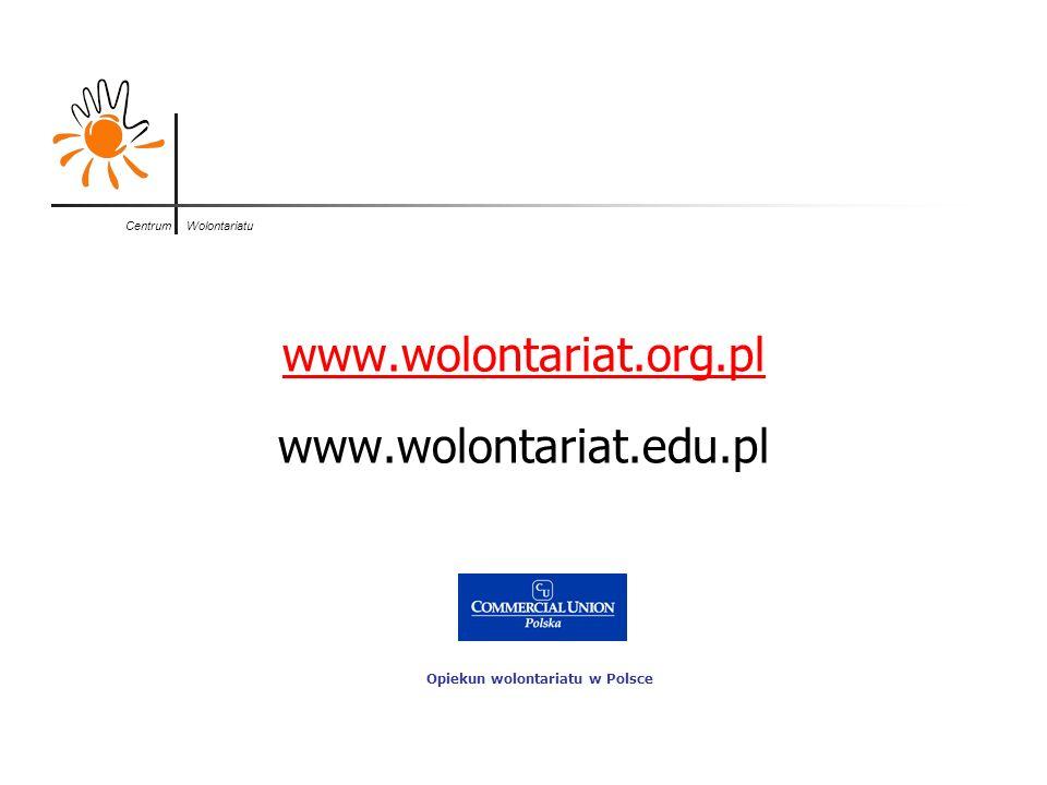 Centrum Wolontariatu www.wolontariat.org.pl www.wolontariat.edu.pl Opiekun wolontariatu w Polsce