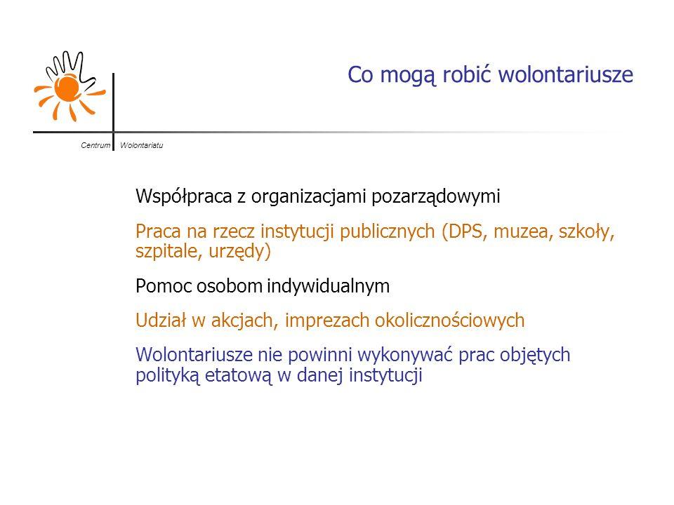 Centrum Wolontariatu Co mogą robić wolontariusze Współpraca z organizacjami pozarządowymi Praca na rzecz instytucji publicznych (DPS, muzea, szkoły, s