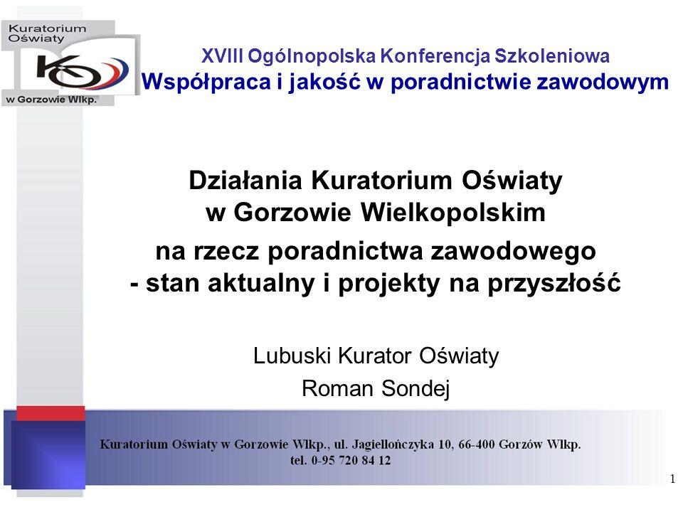 XVIII Ogólnopolska Konferencja Szkoleniowa Współpraca i jakość w poradnictwie zawodowym Działania Kuratorium Oświaty w Gorzowie Wielkopolskim na rzecz