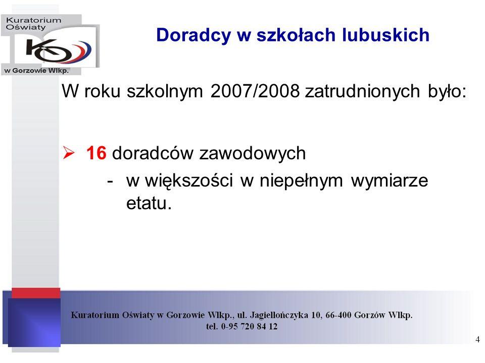 Doradcy w szkołach lubuskich W roku szkolnym 2007/2008 zatrudnionych było: 16 doradców zawodowych -w większości w niepełnym wymiarze etatu. 4