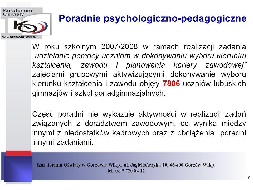 Poradnie psychologiczno-pedagogiczne W roku szkolnym 2007/2008 w ramach realizacji zadaniaudzielanie pomocy uczniom w dokonywaniu wyboru kierunku kszt