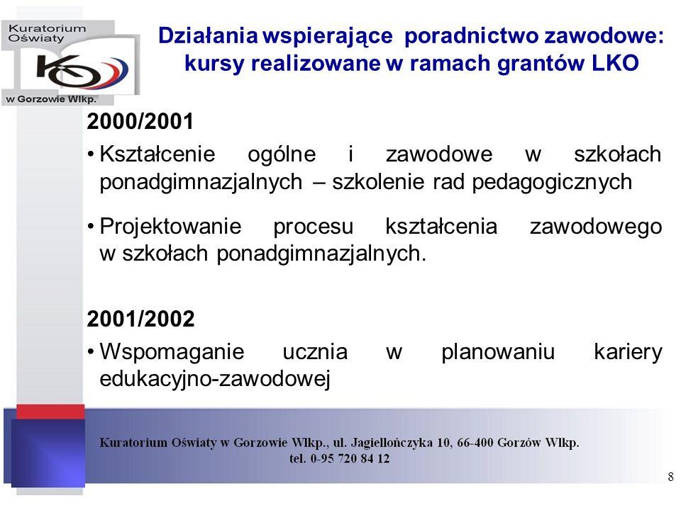 Działania wspierające poradnictwo zawodowe: kursy realizowane w ramach grantów LKO 2000/2001 Kształcenie ogólne i zawodowe w szkołach ponadgimnazjalny