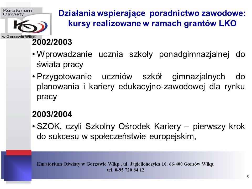 Działania wspierające poradnictwo zawodowe: kursy realizowane w ramach grantów LKO 2002/2003 Wprowadzanie ucznia szkoły ponadgimnazjalnej do świata pr