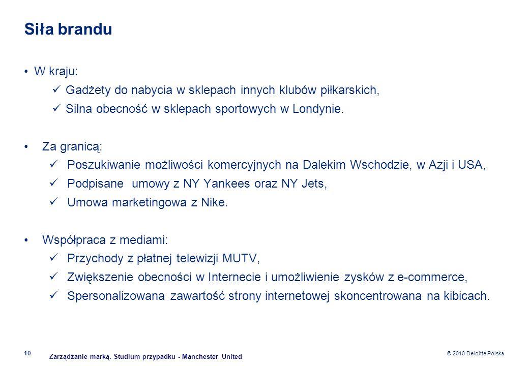 © 2010 Deloitte Polska Siła brandu W kraju: Gadżety do nabycia w sklepach innych klubów piłkarskich, Silna obecność w sklepach sportowych w Londynie.