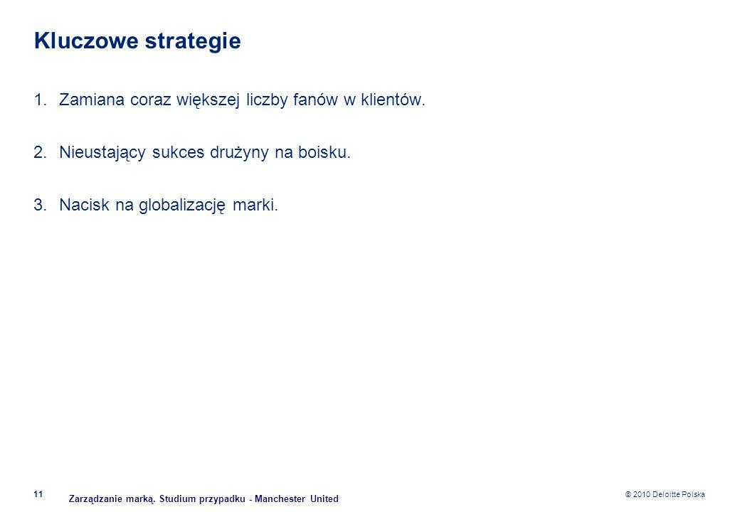 © 2010 Deloitte Polska Kluczowe strategie 1.Zamiana coraz większej liczby fanów w klientów. 2.Nieustający sukces drużyny na boisku. 3.Nacisk na global