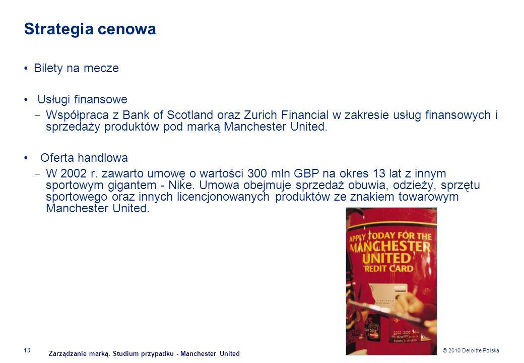 © 2010 Deloitte Polska Strategia cenowa Bilety na mecze Usługi finansowe Współpraca z Bank of Scotland oraz Zurich Financial w zakresie usług finansow