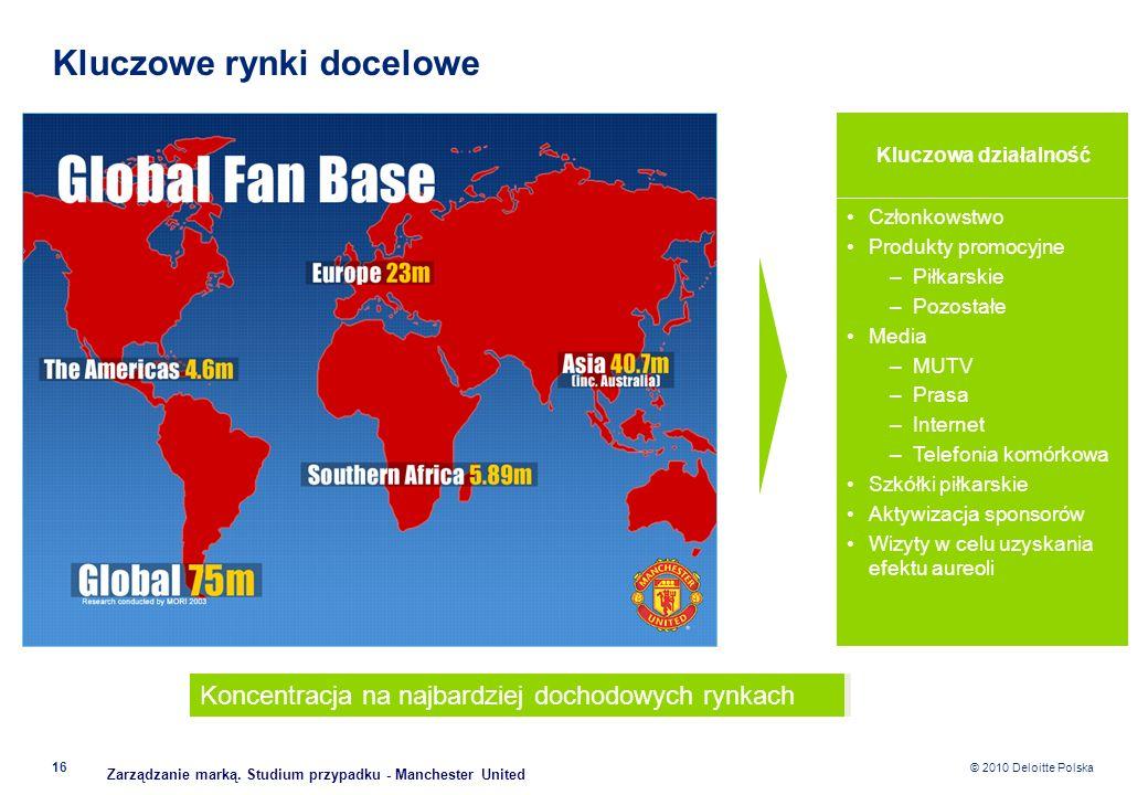 © 2010 Deloitte Polska Kluczowe rynki docelowe 16 Kluczowa działalność Członkowstwo Produkty promocyjne –Piłkarskie –Pozostałe Media –MUTV –Prasa –Int