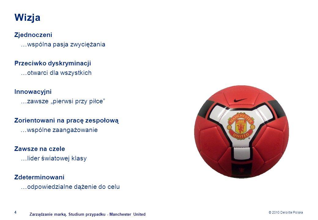 © 2010 Deloitte Polska Wizja Zjednoczeni …wspólna pasja zwyciężania Przeciwko dyskryminacji …otwarci dla wszystkich Innowacyjni …zawsze pierwsi przy p