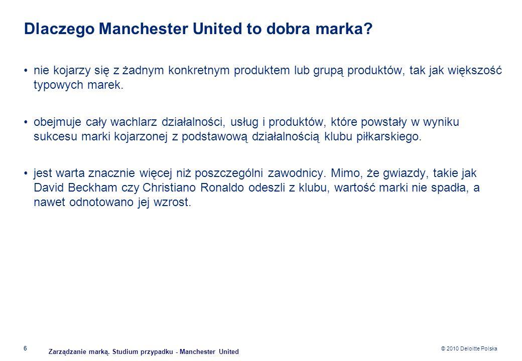 © 2010 Deloitte Polska Dlaczego Manchester United to dobra marka? nie kojarzy się z żadnym konkretnym produktem lub grupą produktów, tak jak większość
