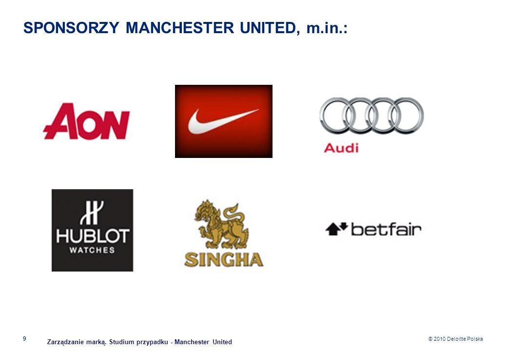 © 2010 Deloitte Polska SPONSORZY MANCHESTER UNITED, m.in.: 9 Zarządzanie marką. Studium przypadku - Manchester United