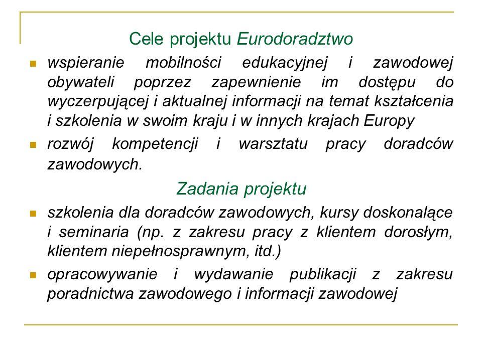 Cele projektu Eurodoradztwo wspieranie mobilności edukacyjnej i zawodowej obywateli poprzez zapewnienie im dostępu do wyczerpującej i aktualnej inform