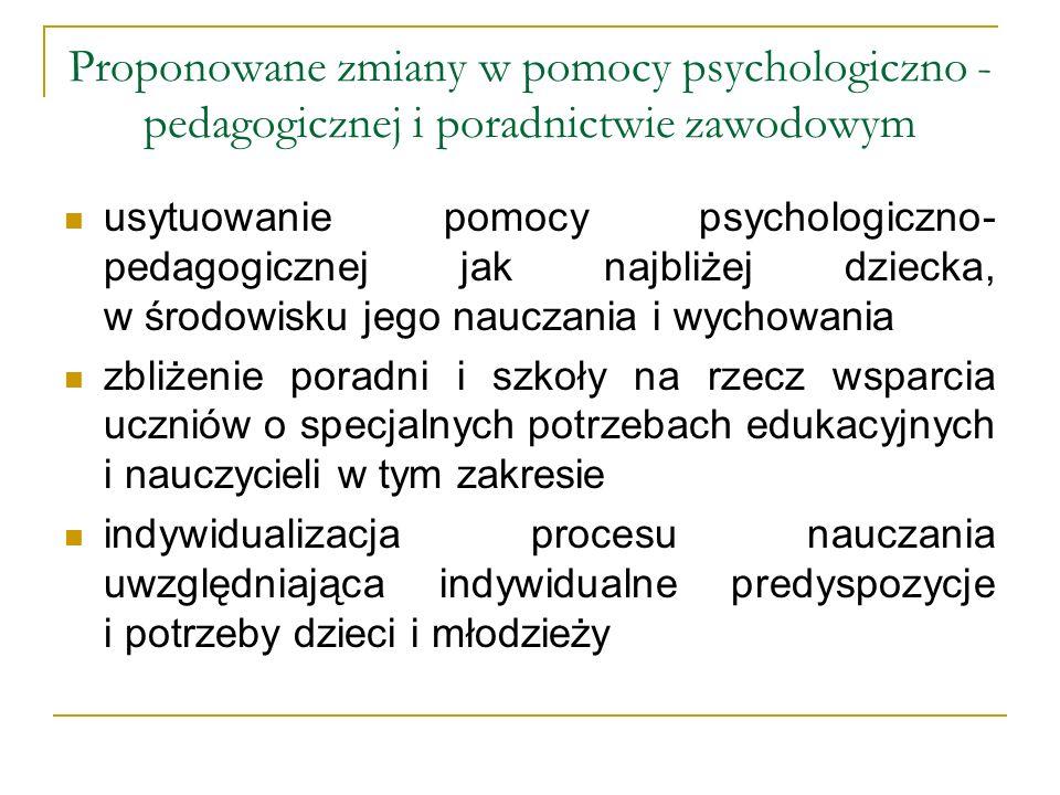 Proponowane zmiany w pomocy psychologiczno - pedagogicznej i poradnictwie zawodowym usytuowanie pomocy psychologiczno- pedagogicznej jak najbliżej dzi