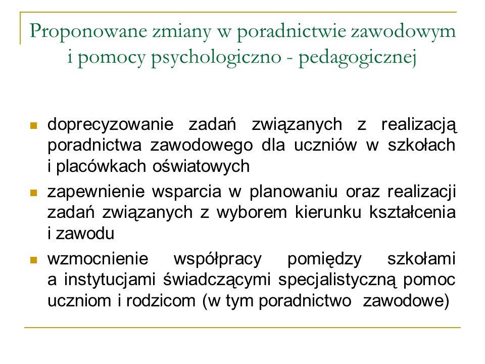 Proponowane zmiany w poradnictwie zawodowym i pomocy psychologiczno - pedagogicznej doprecyzowanie zadań związanych z realizacją poradnictwa zawodoweg
