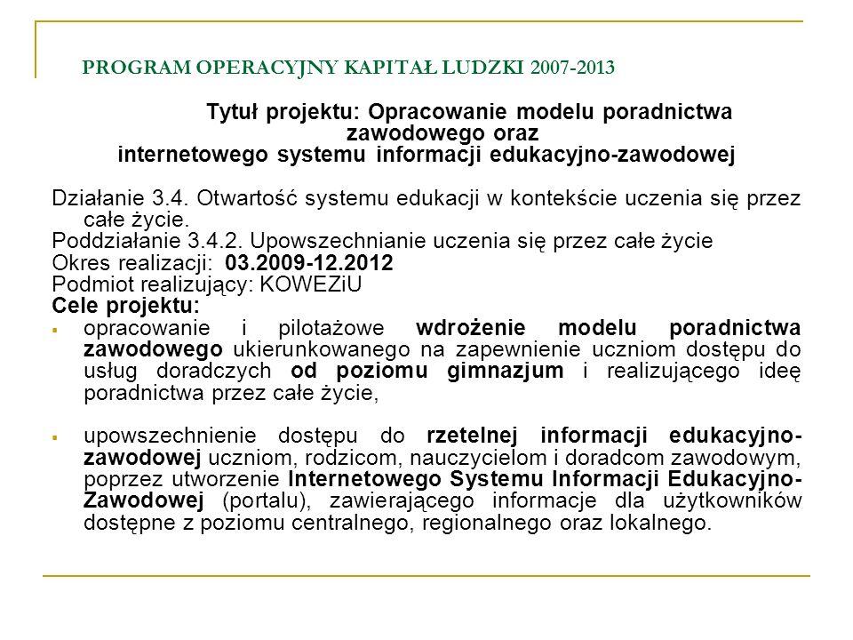 PROGRAM OPERACYJNY KAPITAŁ LUDZKI 2007-2013 Tytuł projektu: Opracowanie modelu poradnictwa zawodowego oraz internetowego systemu informacji edukacyjno