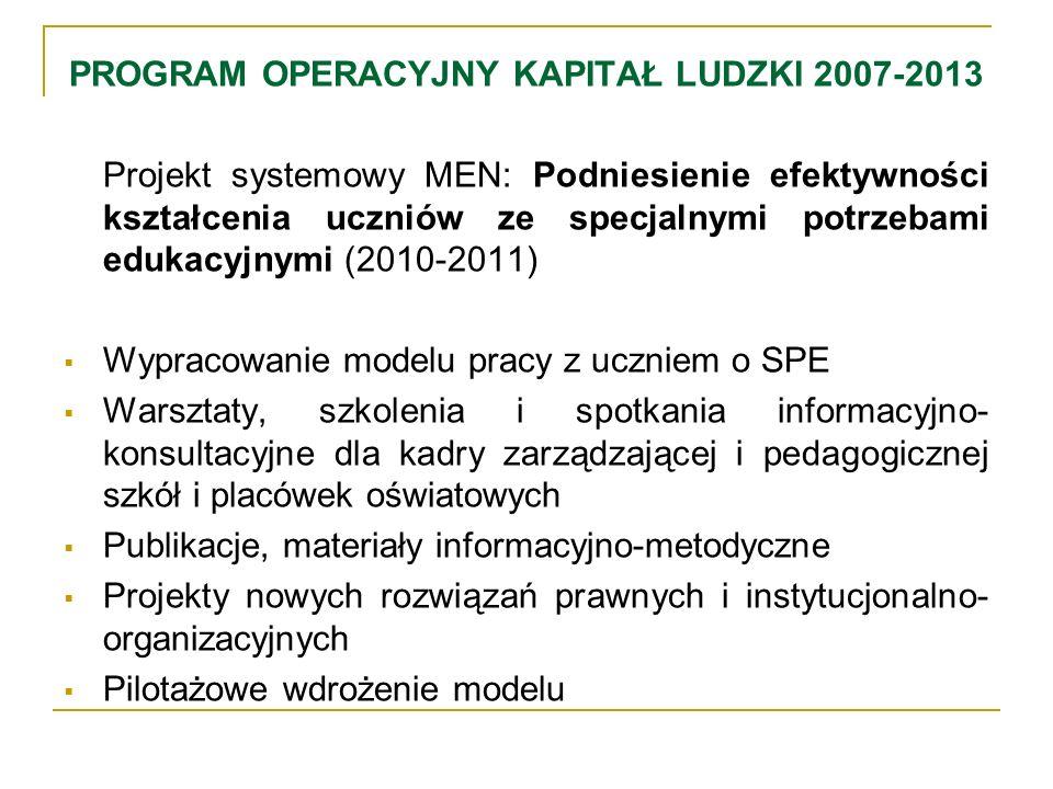 PROGRAM OPERACYJNY KAPITAŁ LUDZKI 2007-2013 Projekt systemowy MEN: Podniesienie efektywności kształcenia uczniów ze specjalnymi potrzebami edukacyjnym