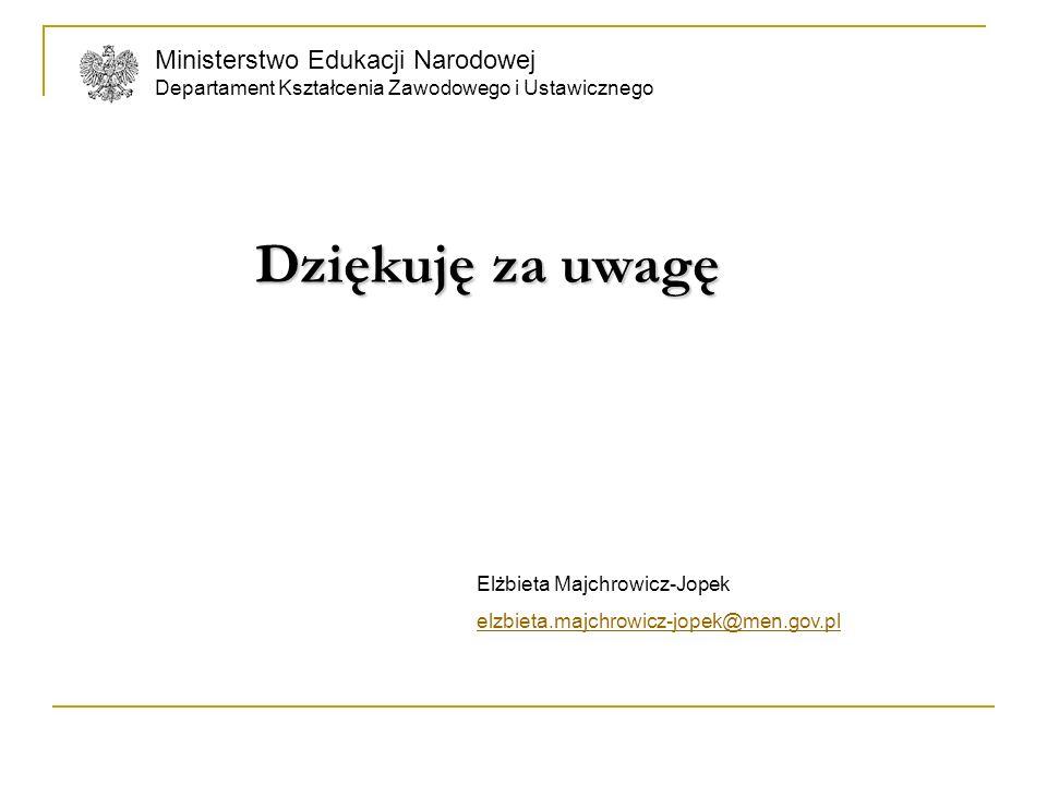 Ministerstwo Edukacji Narodowej Departament Kształcenia Zawodowego i Ustawicznego Dziękuję za uwagę Dziękuję za uwagę Elżbieta Majchrowicz-Jopek elzbi