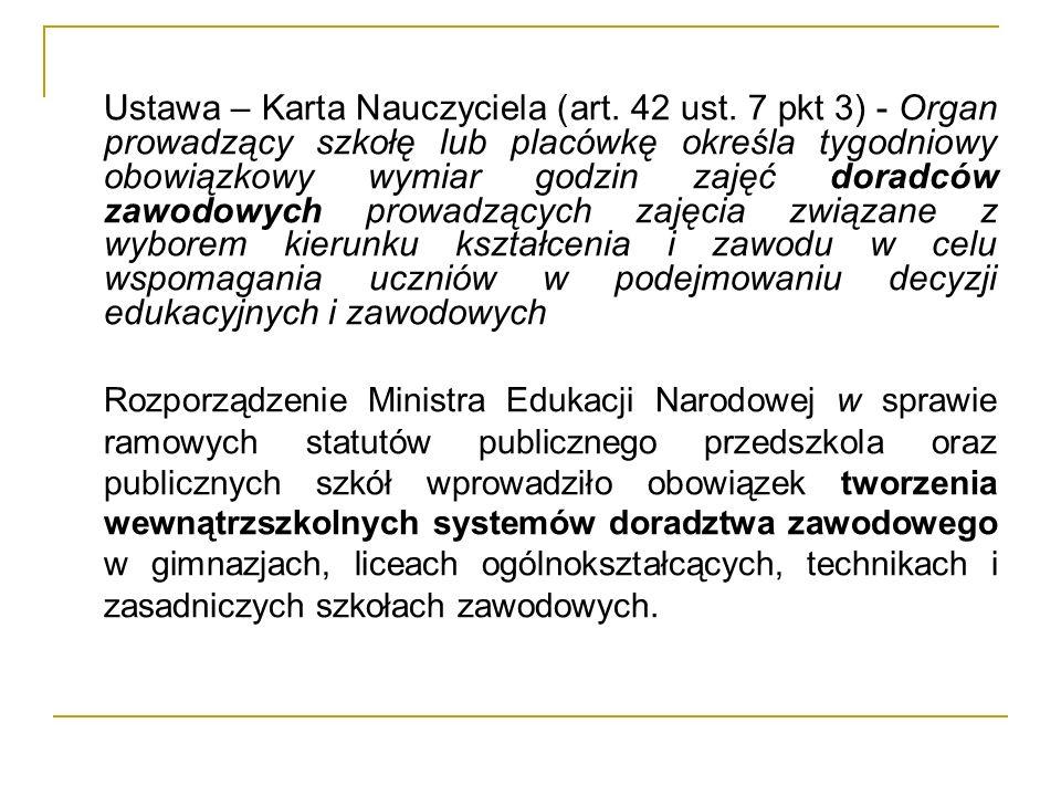 Organizacja doradztwa zawodowego w szkołach (placówkach) § 2.