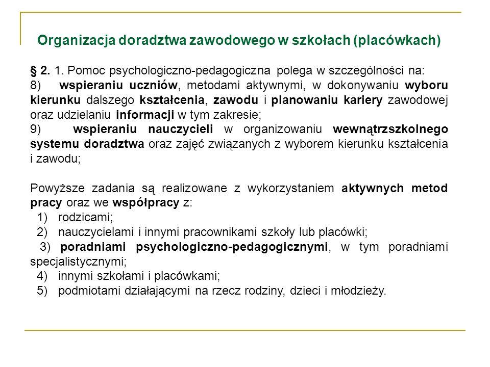 Organizacja doradztwa zawodowego w szkołach (placówkach) § 2. 1. Pomoc psychologiczno-pedagogiczna polega w szczególności na: 8) wspieraniu uczniów, m