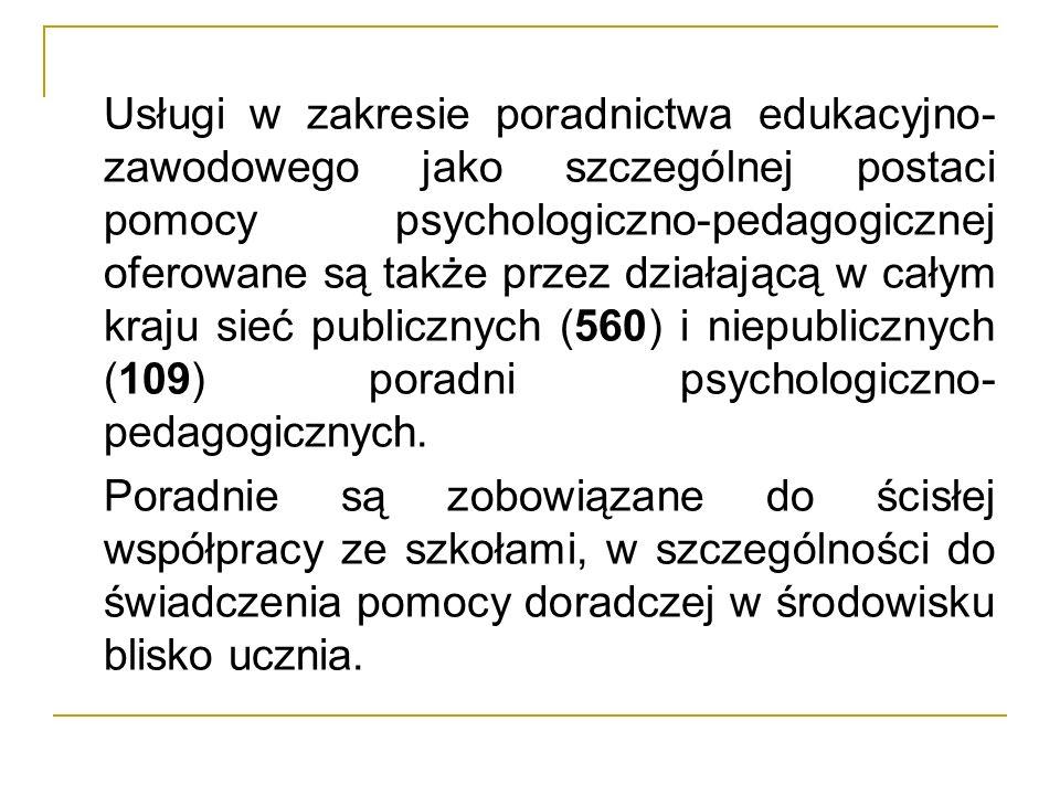 Usługi w zakresie poradnictwa edukacyjno- zawodowego jako szczególnej postaci pomocy psychologiczno-pedagogicznej oferowane są także przez działającą