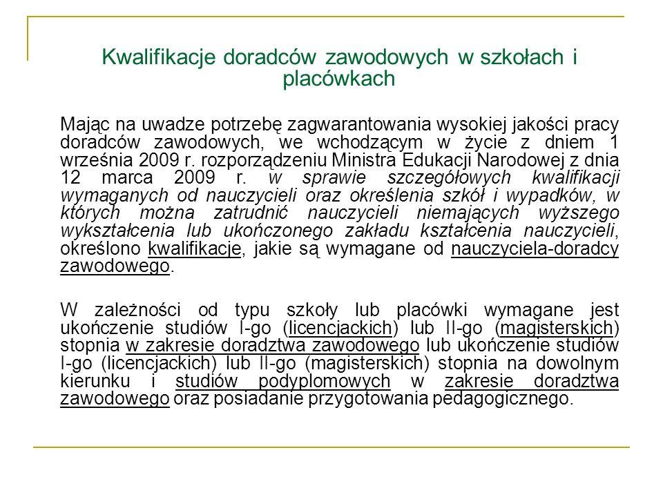 Rola KOWEZiU w systemie doradztwa Zadania z zakresu poradnictwa zawodowego realizowane są przez Krajowy Ośrodek Wspierania Edukacji Zawodowej i Ustawicznej (KOWEZiU), bezpośrednio finansowany i nadzorowany merytorycznie przez Ministerstwo Edukacji Narodowej.
