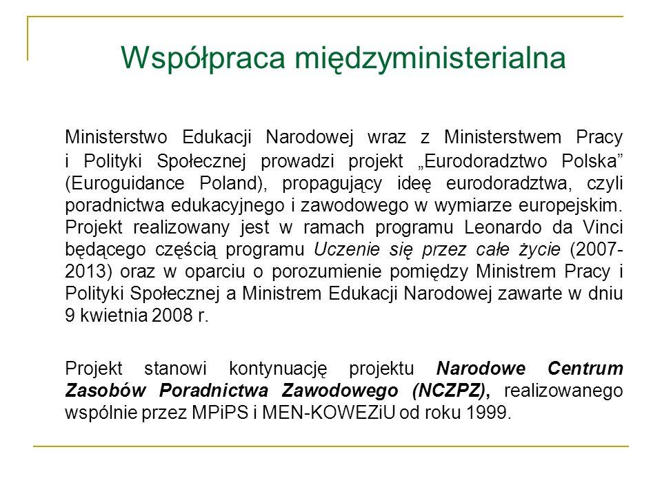 Współpraca międzyministerialna Ministerstwo Edukacji Narodowej wraz z Ministerstwem Pracy i Polityki Społecznej prowadzi projekt Eurodoradztwo Polska