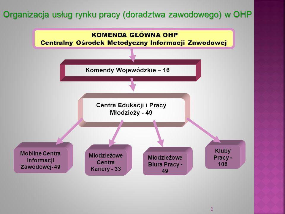 2 Centra Edukacji i Pracy Młodzieży - 49 Organizacja usług rynku pracy (doradztwa zawodowego) w OHP KOMENDA GŁÓWNA OHP Centralny Ośrodek Metodyczny In