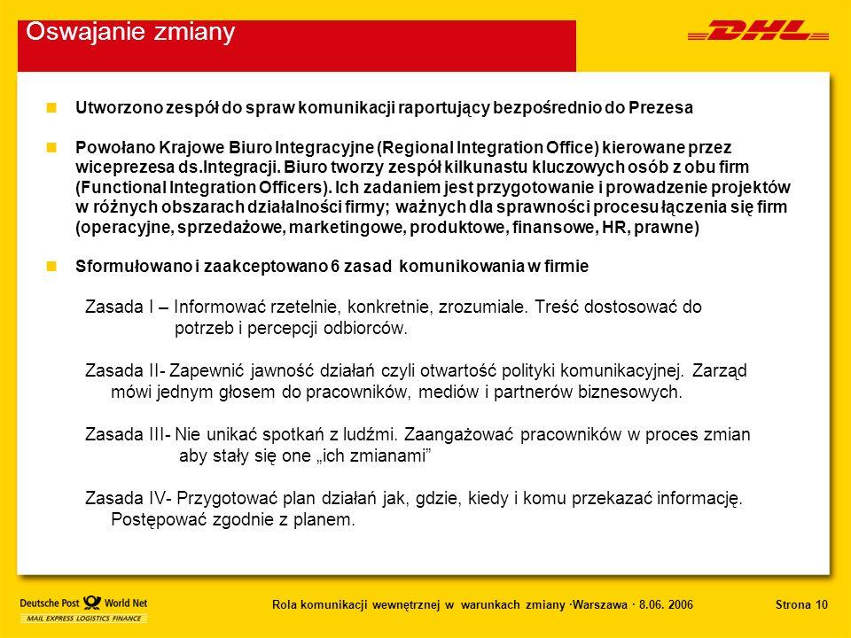 Strona 10Rola komunikacji wewnętrznej w warunkach zmiany ·Warszawa · 8.06. 2006 nUtworzono zespół do spraw komunikacji raportujący bezpośrednio do Pre