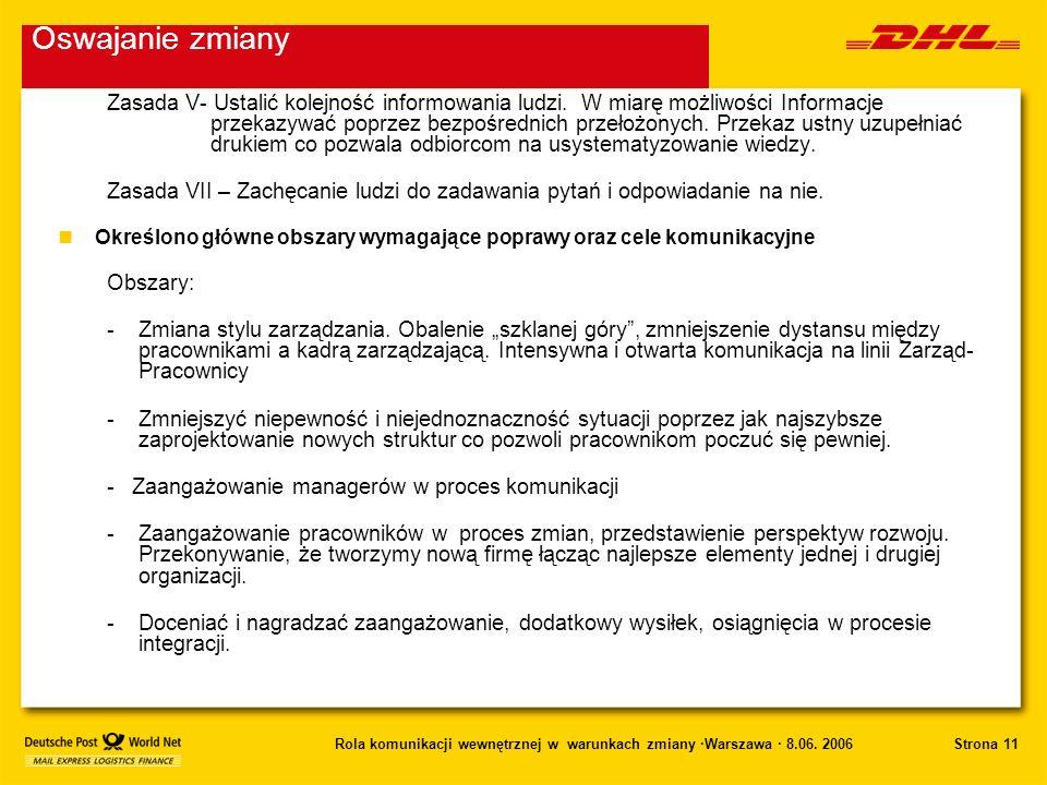 Strona 11Rola komunikacji wewnętrznej w warunkach zmiany ·Warszawa · 8.06. 2006 Zasada V- Ustalić kolejność informowania ludzi. W miarę możliwości Inf