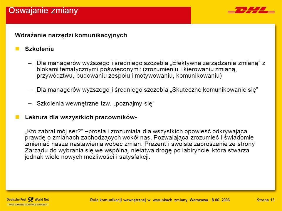 Strona 13Rola komunikacji wewnętrznej w warunkach zmiany ·Warszawa · 8.06. 2006 Wdrażanie narzędzi komunikacyjnych nSzkolenia –Dla managerów wyższego