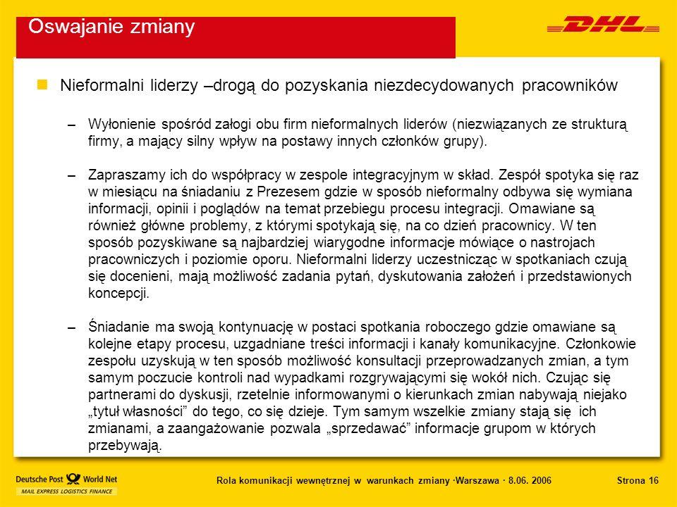 Strona 16Rola komunikacji wewnętrznej w warunkach zmiany ·Warszawa · 8.06. 2006 nNieformalni liderzy –drogą do pozyskania niezdecydowanych pracowników