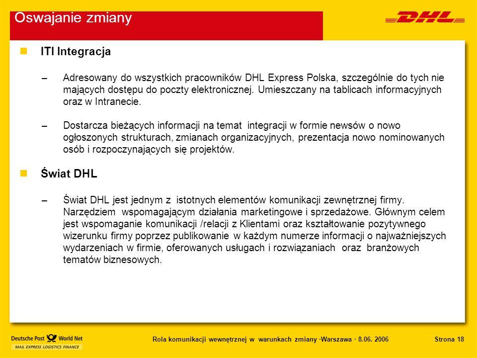 Strona 18Rola komunikacji wewnętrznej w warunkach zmiany ·Warszawa · 8.06. 2006 nITI Integracja –Adresowany do wszystkich pracowników DHL Express Pols