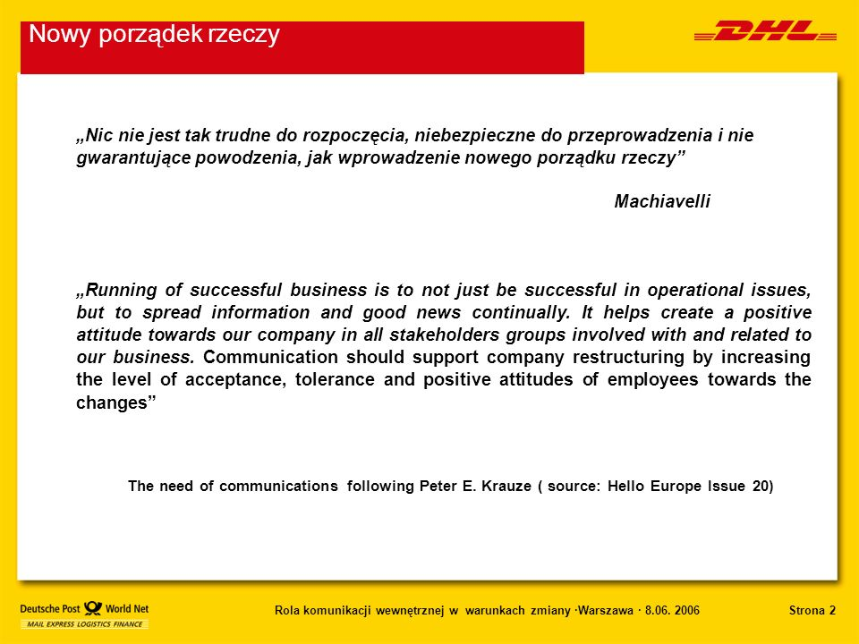 Strona 2Rola komunikacji wewnętrznej w warunkach zmiany ·Warszawa · 8.06. 2006 Nowy porządek rzeczy Nic nie jest tak trudne do rozpoczęcia, niebezpiec