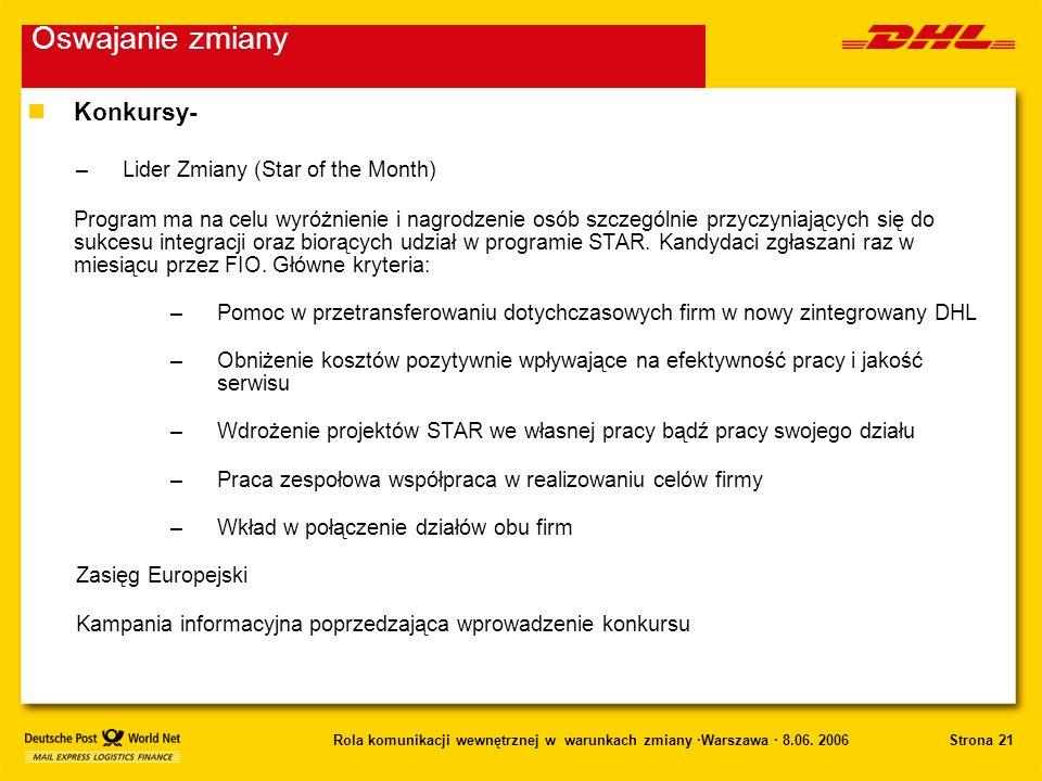Strona 21Rola komunikacji wewnętrznej w warunkach zmiany ·Warszawa · 8.06. 2006 nKonkursy- –Lider Zmiany (Star of the Month) Program ma na celu wyróżn