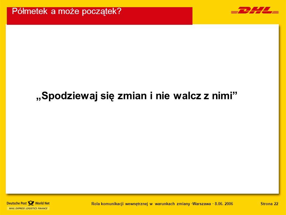 Strona 22Rola komunikacji wewnętrznej w warunkach zmiany ·Warszawa · 8.06. 2006 Spodziewaj się zmian i nie walcz z nimi Półmetek a może początek?