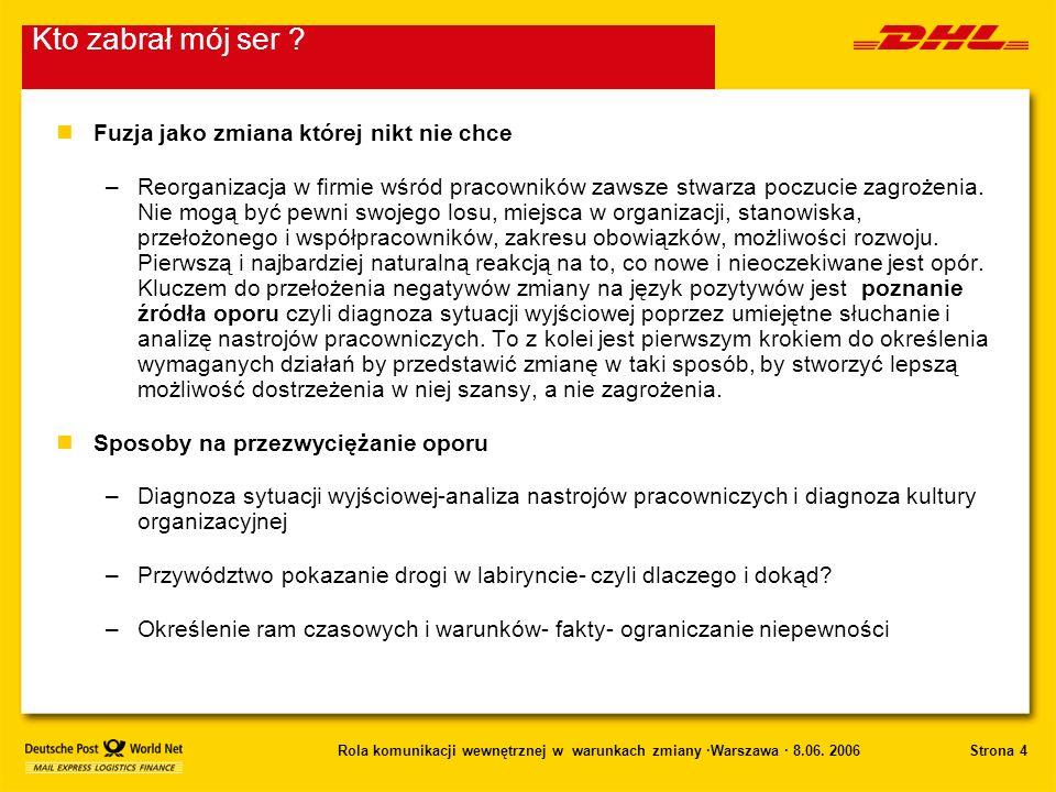 Strona 4Rola komunikacji wewnętrznej w warunkach zmiany ·Warszawa · 8.06. 2006 nFuzja jako zmiana której nikt nie chce –Reorganizacja w firmie wśród p