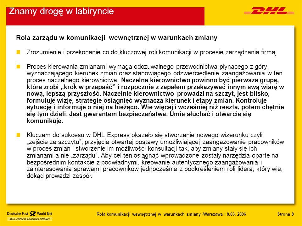 Strona 8Rola komunikacji wewnętrznej w warunkach zmiany ·Warszawa · 8.06. 2006 Rola zarządu w komunikacji wewnętrznej w warunkach zmiany nZrozumienie