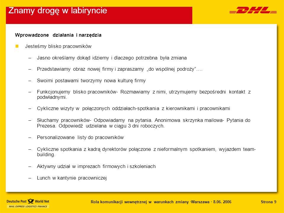 Strona 9Rola komunikacji wewnętrznej w warunkach zmiany ·Warszawa · 8.06. 2006 Wprowadzone działania i narzędzia nJesteśmy blisko pracowników –Jasno o