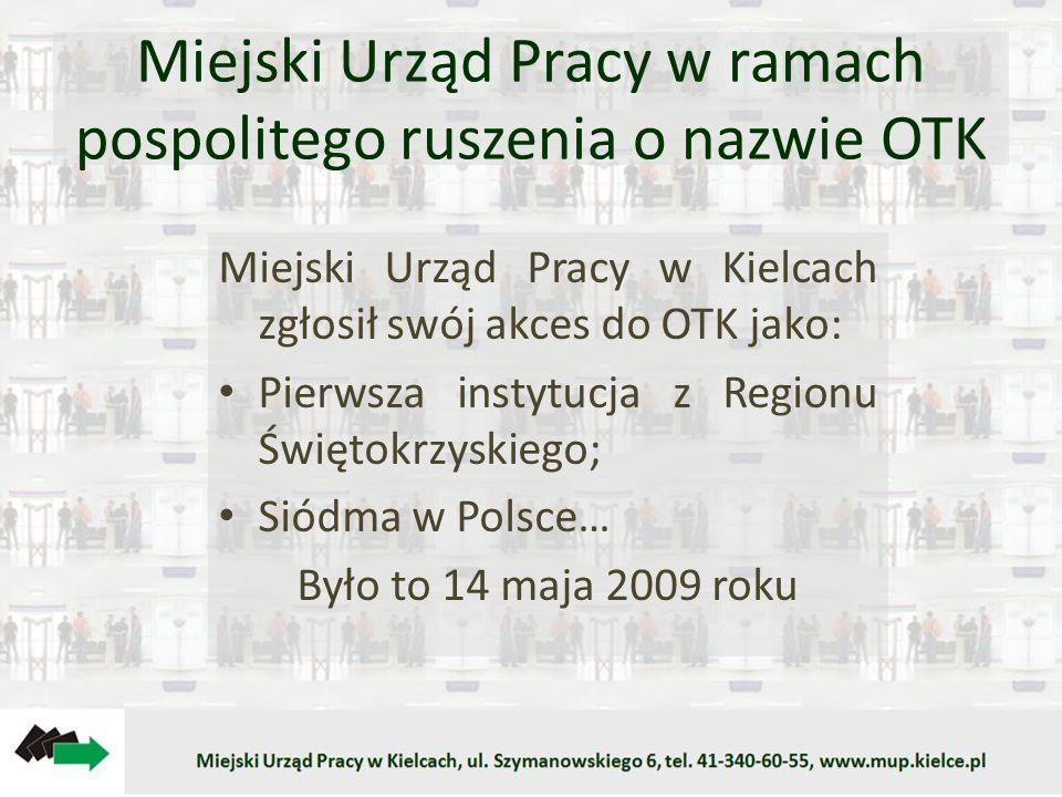 Miejski Urząd Pracy w ramach pospolitego ruszenia o nazwie OTK Miejski Urząd Pracy w Kielcach zgłosił swój akces do OTK jako: Pierwsza instytucja z Regionu Świętokrzyskiego; Siódma w Polsce… Było to 14 maja 2009 roku