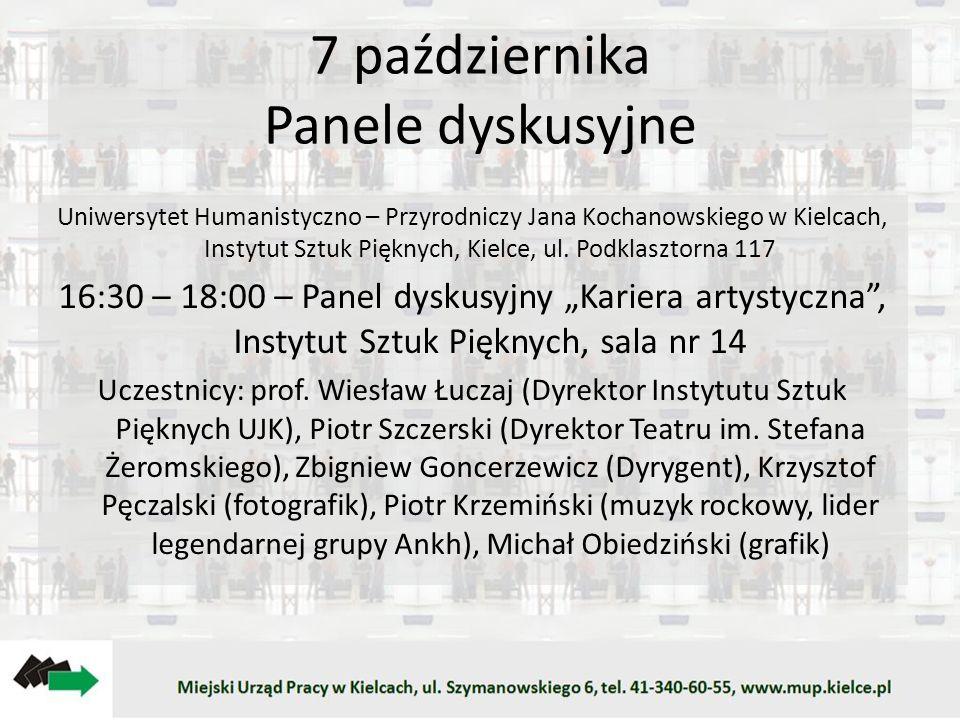 7 października Panele dyskusyjne Uniwersytet Humanistyczno – Przyrodniczy Jana Kochanowskiego w Kielcach, Instytut Sztuk Pięknych, Kielce, ul. Podklas