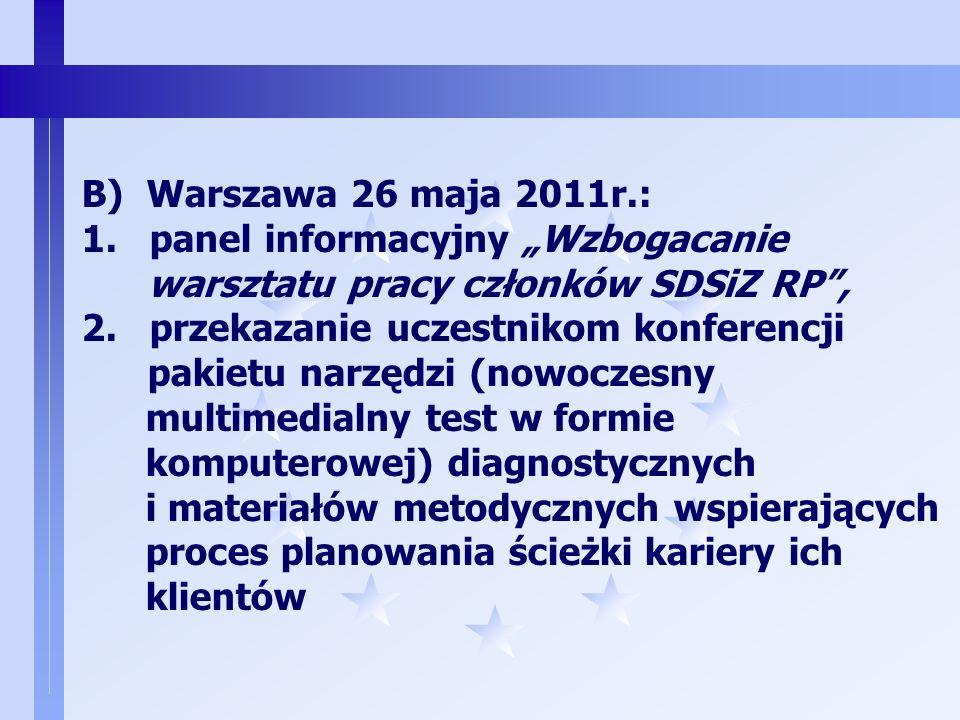 2 CEL: WSPIERANIE W DZIAŁANIACH DORADCZYCH CZŁONKÓW SDSIZ RP A)Elbląg, Olsztyn, od 27.06.2010r. Rozesłanie bezpłatnych narzędzi wspomagających proces