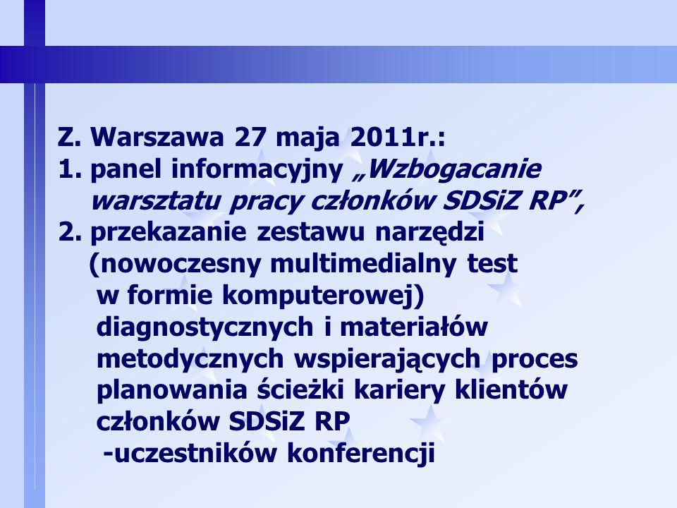 7 X. Elbląg, 17.04.2010r.: panel informacyjny Nowe narzędzia w pracy doradcy zawodowego, Y. Elbląg, Olsztyn, od 27.06.2010r.: Przekazanie bezpłatnych