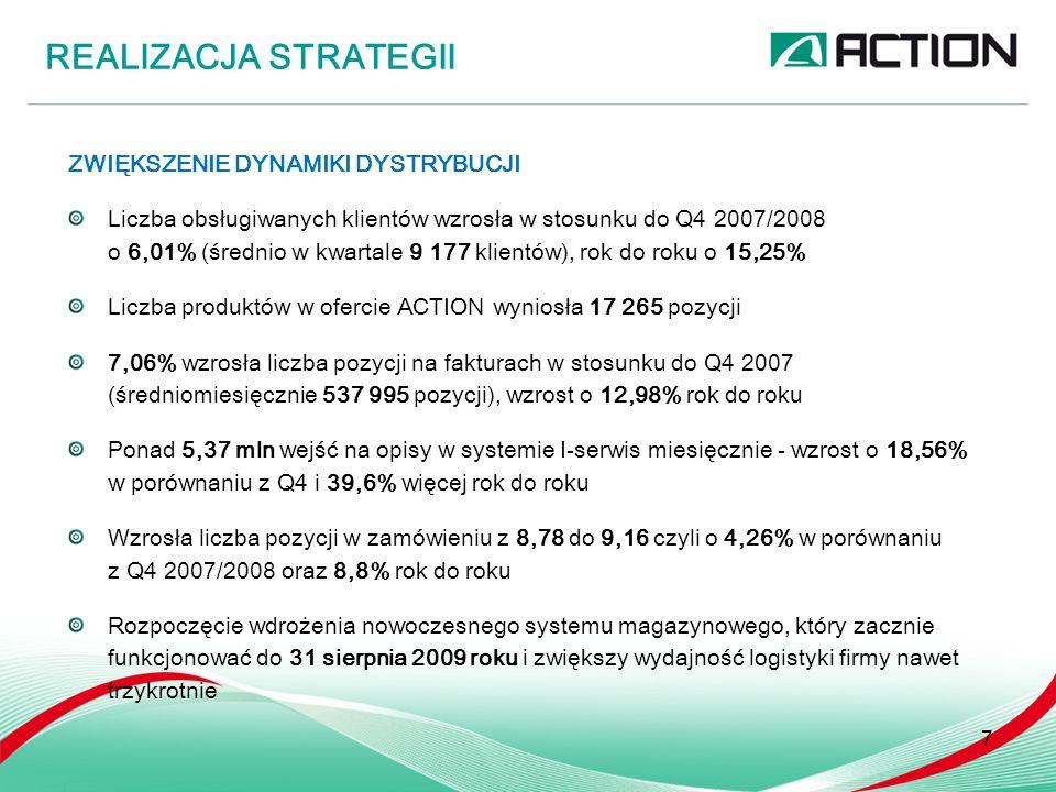 ZWIĘKSZENIE DYNAMIKI DYSTRYBUCJI Liczba obsługiwanych klientów wzrosła w stosunku do Q4 2007/2008 o 6,01% (średnio w kwartale 9 177 klientów), rok do roku o 15,25% Liczba produktów w ofercie ACTION wyniosła 17 265 pozycji 7,06% wzrosła liczba pozycji na fakturach w stosunku do Q4 2007 (średniomiesięcznie 537 995 pozycji), wzrost o 12,98% rok do roku Ponad 5,37 mln wejść na opisy w systemie I-serwis miesięcznie - wzrost o 18,56% w porównaniu z Q4 i 39,6% więcej rok do roku Wzrosła liczba pozycji w zamówieniu z 8,78 do 9,16 czyli o 4,26% w porównaniu z Q4 2007/2008 oraz 8,8% rok do roku Rozpoczęcie wdrożenia nowoczesnego systemu magazynowego, który zacznie funkcjonować do 31 sierpnia 2009 roku i zwiększy wydajność logistyki firmy nawet trzykrotnie REALIZACJA STRATEGII 7