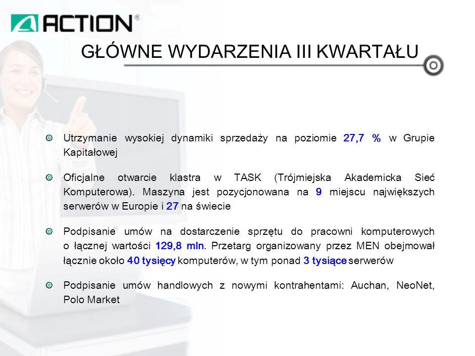 Utrzymanie wysokiej dynamiki sprzedaży na poziomie 27,7 % w Grupie Kapitałowej Oficjalne otwarcie klastra w TASK (Trójmiejska Akademicka Sieć Komputerowa).