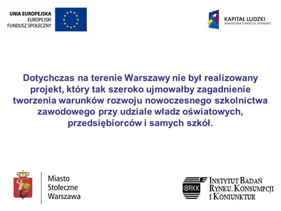 Dotychczas na terenie Warszawy nie był realizowany projekt, który tak szeroko ujmowałby zagadnienie tworzenia warunków rozwoju nowoczesnego szkolnictwa zawodowego przy udziale władz oświatowych, przedsiębiorców i samych szkół.