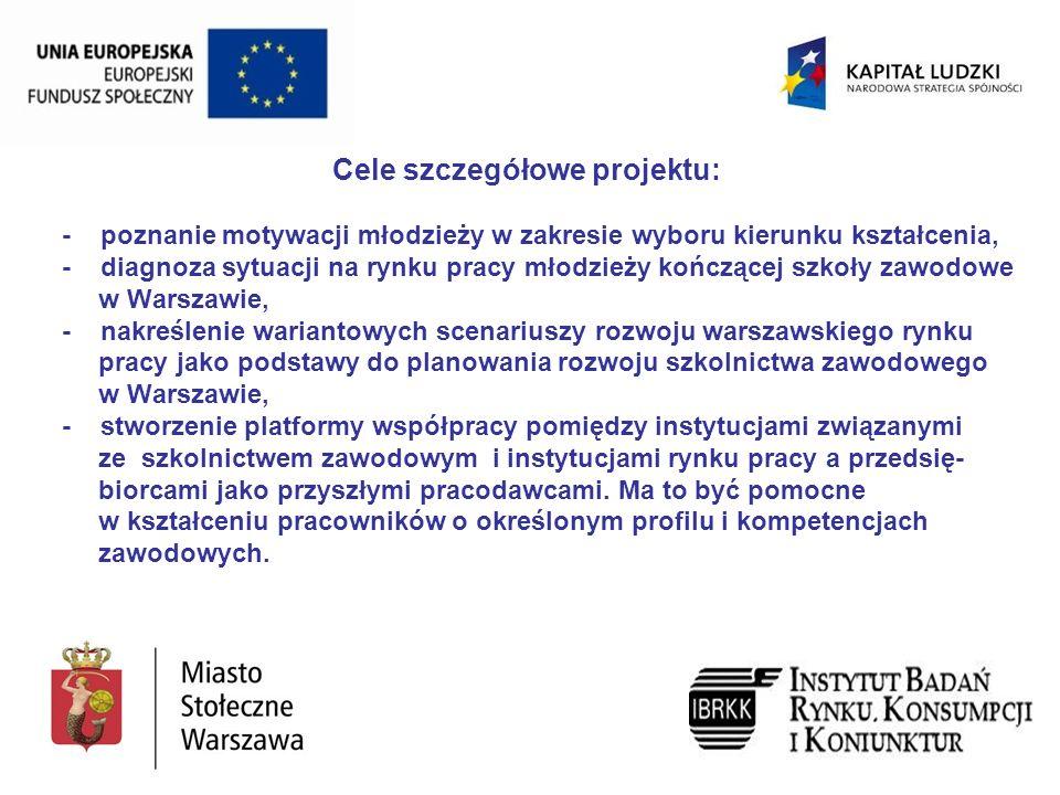 Cele szczegółowe projektu: - poznanie motywacji młodzieży w zakresie wyboru kierunku kształcenia, - diagnoza sytuacji na rynku pracy młodzieży kończącej szkoły zawodowe w Warszawie, - nakreślenie wariantowych scenariuszy rozwoju warszawskiego rynku pracy jako podstawy do planowania rozwoju szkolnictwa zawodowego w Warszawie, - stworzenie platformy współpracy pomiędzy instytucjami związanymi ze szkolnictwem zawodowym i instytucjami rynku pracy a przedsię- biorcami jako przyszłymi pracodawcami.