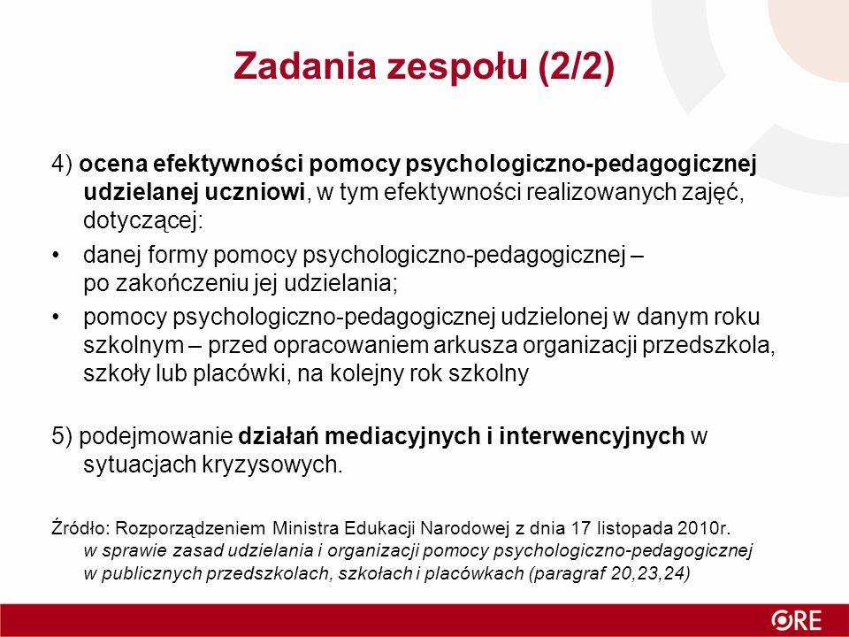 Zadania zespołu (2/2) 4) ocena efektywności pomocy psychologiczno-pedagogicznej udzielanej uczniowi, w tym efektywności realizowanych zajęć, dotyczące
