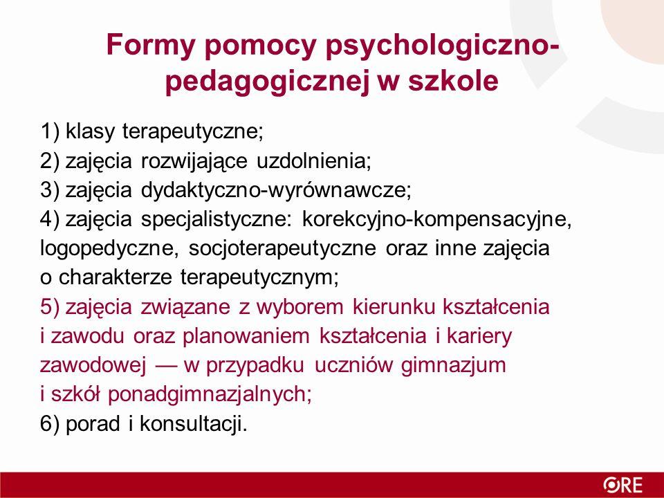 Formy pomocy psychologiczno- pedagogicznej w szkole 1) klasy terapeutyczne; 2) zajęcia rozwijające uzdolnienia; 3) zajęcia dydaktyczno-wyrównawcze; 4)