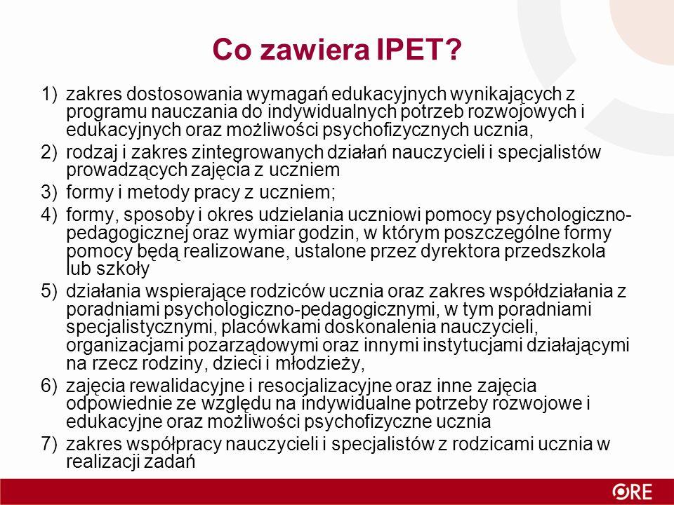 Co zawiera IPET? 1)zakres dostosowania wymagań edukacyjnych wynikających z programu nauczania do indywidualnych potrzeb rozwojowych i edukacyjnych ora