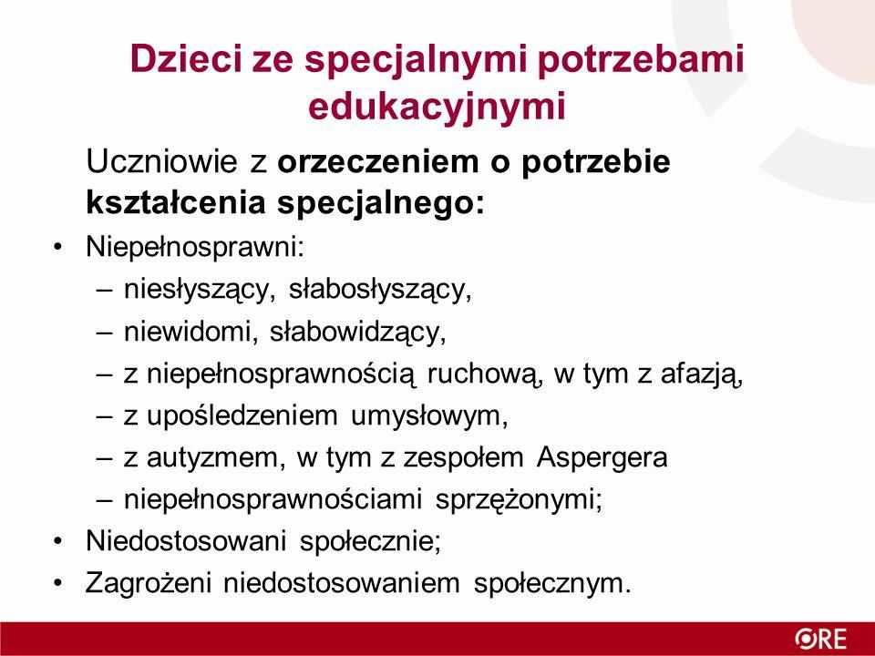 Dzieci ze specjalnymi potrzebami edukacyjnymi Uczniowie z orzeczeniem o potrzebie kształcenia specjalnego: Niepełnosprawni: –niesłyszący, słabosłysząc